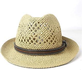 2019 Women Womens Summer Hat for Women Beach Sun Hat Elegant Lady Travel Fedora Pearl Panama Sunbonnet Sunhat Size 56-58CM Ladies Fashion Casual Lightweight (Color : Tan, Size : 56-58CM)
