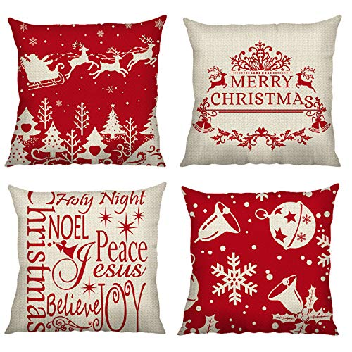Bonhause Christmas Throw Pillow Covers 18 x 18 Inch Set of 4 Santa Sleigh Reindeer Snowflake Decorative Throw Pillow Cases Cotton Linen Square Cushion Covers for Sofa Couch Car Bedroom Home Décor
