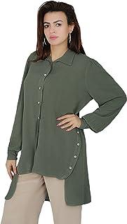قميص بظهر عالي مع ازرار جانبية للنساء