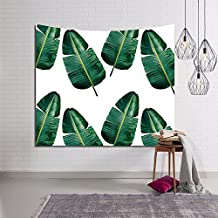 HYSENM Tropical Plant Monstera Tapestry Banana Leaves Wall Art Hanging Blanket for Bedroom Dorm Décor, Banana Leaves 59x51 Inches