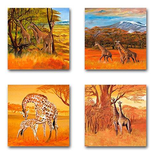 Mia Morro Afrika Bilder Set B, 4-teiliges Bilder-Set jedes Teil 29x29cm, Seidenmatte Optik auf Forex, Moderne schwebende Optik, UV-stabil, wasserfest, Kunstdruck für Büro, Wohnzimmer, XXL Deko Bild
