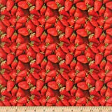 Mook Fabrics Cotton Fruits-Vegetables Strawberries Fabric, Red