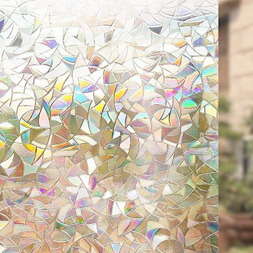 KUNHAN raamfolie Raamsticker 60 cm bij 300 cm niet-klevende raamfolie decoratieve privacy statische klemmen regenboog kleurrijk patroon glas film