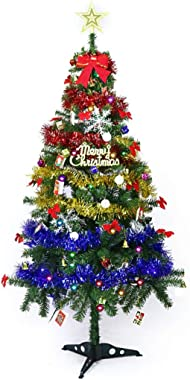 CHHLDLO Pre-Lit Small Christmas Tree with Lights Flower Luxury Artificial Fake Xmas Trees Decoration Tree for Home Shopping Mall Bar Office Christmas Friends 1.5 Meter (Size : 150cm)
