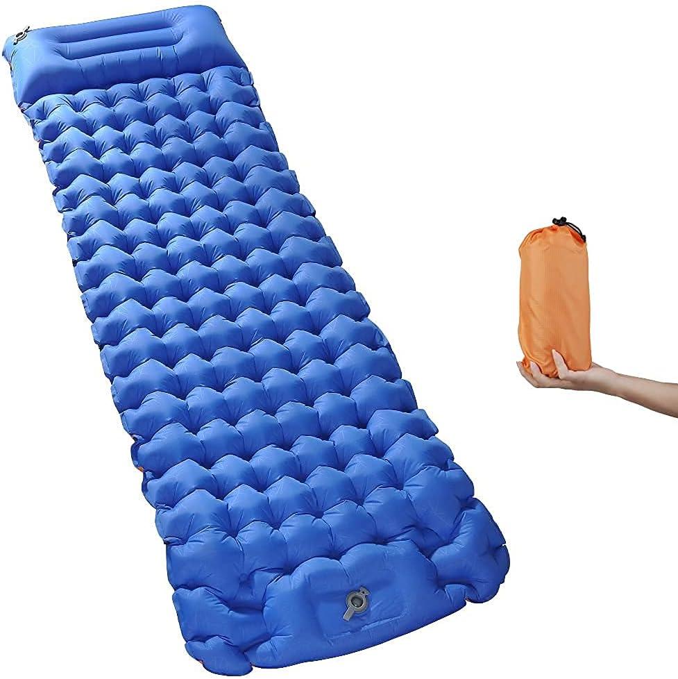Camping Sleeping Pad, CMCQ Foot Press Inflatable Sleeping Mat wi