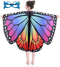 JKVCULY Butterfly Wings for Girls Kids Halloween Butterfly Costume Fairy Shawl Festival Rave Dress fit for 3-15Y
