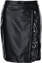 YJYdada Women Fashion Girls Leather Lace Uniform Pleated Skirt
