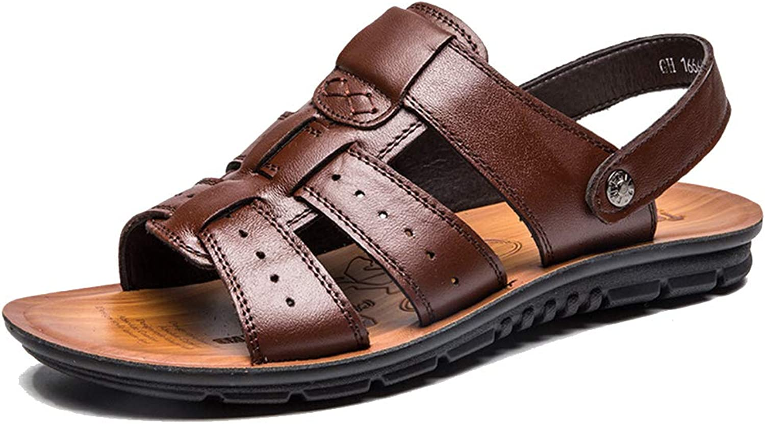 Men Open-Back Sandals Slip-on Leather shoes Male Outdoor Slippers Casual Beach shoes Summer Open-Toe shoes