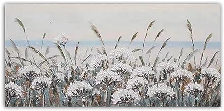 Handgeschilderd Olieverfschilderij - Modern 3D Handgeschilderd Mes Abstract Wit Tarwe Oren Bloemen Olieverfschilderij Pale...