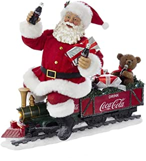 Kurt Adler 13.25 Inch Coca-Cola Battery-Operated Santa Train with LED Garland, Red