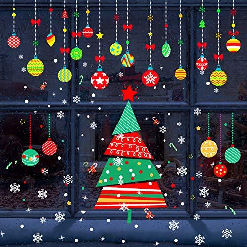 6 Hojas de Pegatinas de Árbol de Navidad Vinilos Decorativos de Ventana Pegatinas de Vacaciones de Navidad para Suministros de Celebración de Navidad Decoración de Fiesta de Año Nuevo