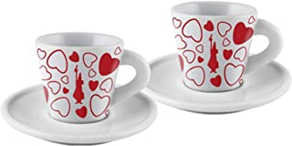 """Bialetti:"""" Lovers"""" Set of 2 Coffee Cups and Saucers"""