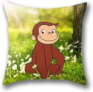 GARDEAR Curious George Pillow Cover Standard Throw Pillowcase 18X18 Inch