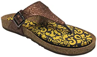Colour Me Mad Bronze Gitter, Natural Cork, Washable, All Weather, Vegan, Made in India, PETA Certified, Women Sandals