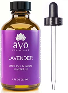 aVo Essentials Lavender Essential Oil, Therapeutic Grade for Aromatherapy with Glass Dropper, 4 oz