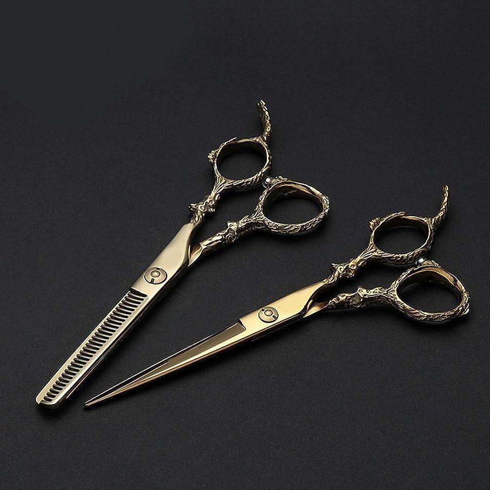 略語シールベアリング6インチ美容院プロフェッショナルゴールデン理髪440 Cはさみセット ヘアケア (色 : ゴールド)