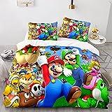 LKFFHAVD Super Mario Juego de ropa de cama con diseño de Super Mario de dibujos animados de Super...