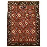 Manhattan Oriental Rugs Antique 6X9 Agra Area Rug- Signed FHA by Weaver, Circa 1880 - Indian Hand-Knotted Wool Carpet (5.11 x 8.7) (ET)