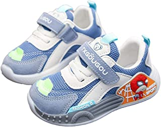 Hopscotch Baby Boys PU and Mesh Applique Text Printed Fixed Lace Athletic Shoe in Blue Color