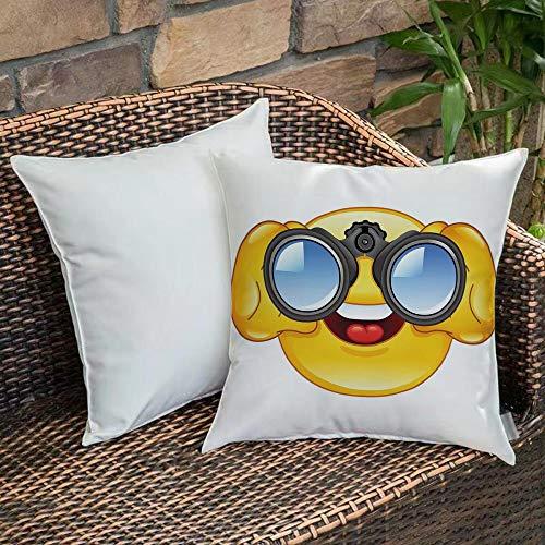 Weich Bequem Kissenbezug,Emoji, Smiley-Gesicht mit einer Teleskop-Fernglas-Brille, die draußen Cartoon-Druck, Gelb und Blau aufpasst,,Kissenhülle mit Verstecktem Reißverschluss 18x18 Zoll 45x 45 cm