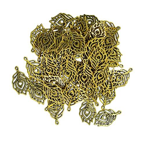 kowaku 50 Piezas de Aleación de Plumas de Pavo Real Colgantes Encantos Hallazgos para La Fabricación de Joyas de Oro
