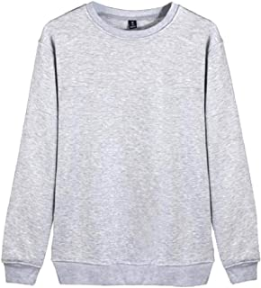 Ruhua Men's Long Sleeve Solid Trend Plus Size Pullover Hoodies Tops