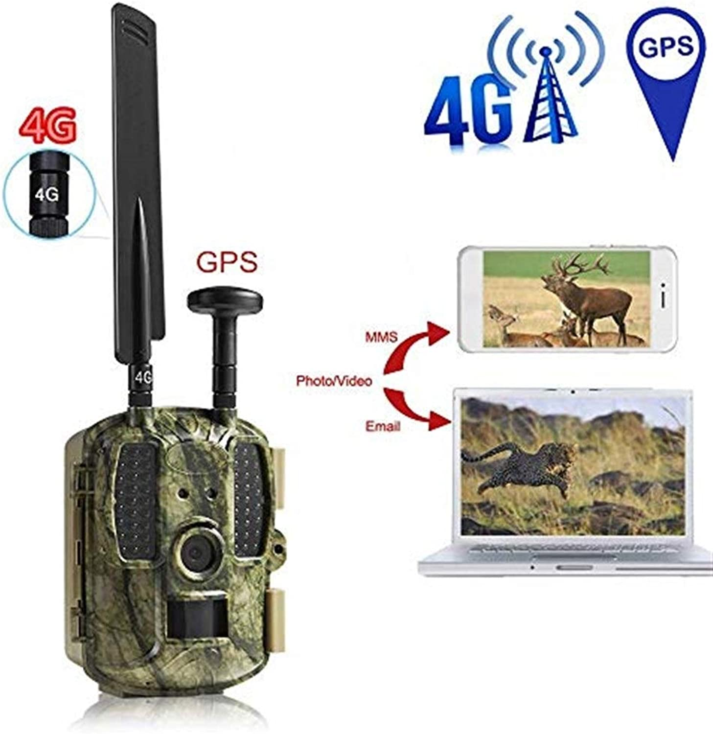 Hunting Camera Outdoor Wildlife Camera Trap,12MP 1080P HD Cam Waterproof Infrared Night Vision Hunting Supporting 4G MMS and Mail Network Telecontrol Operation Trail Camera