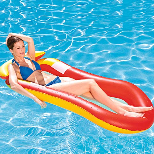 Yusea Schwimmendes Zubehör für den Strand, zum Schwimmen, für Hochstuhl, zum Schwimmen von Wasserhängematten, aufblasbar, rot, 150x75cm