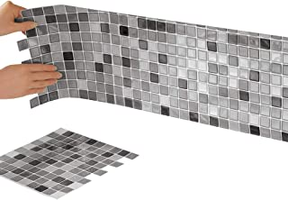 Collections Etc Multi-Colored Adhesive Mosaic Backsplash Tiles for Kitchen and Bathroom - Set of 6, Black and White