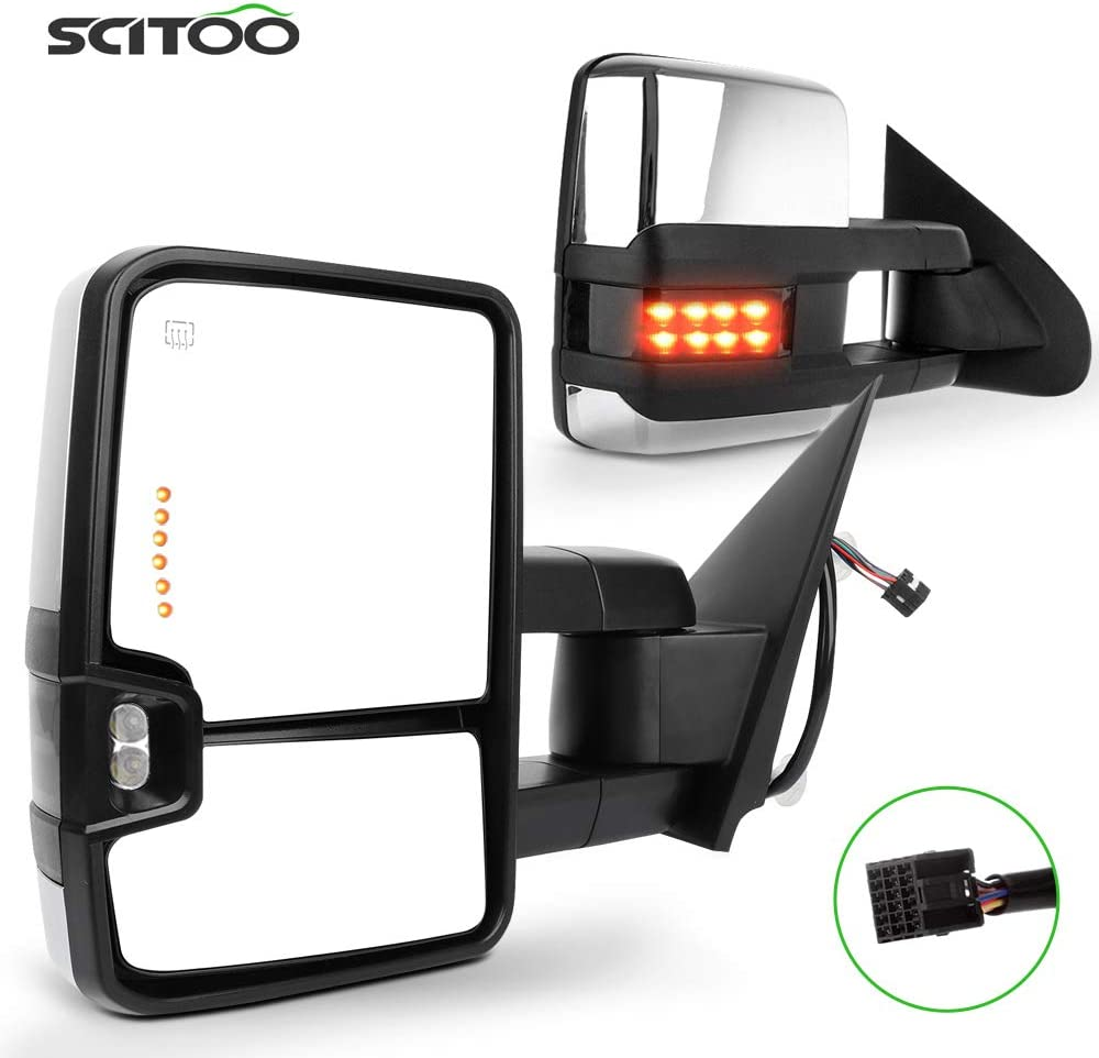 SCITOO fit for Chevy for GMC Towing Mirrors Chrome Tow Mirrors f