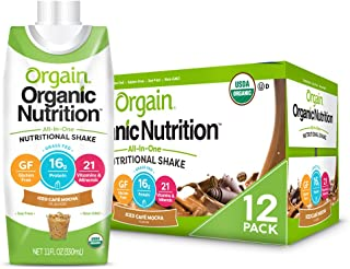 Orgain Organic Nutritional Shake, Iced Cafe Mocha - Meal Replacement, 16g Protein, 21 Vitamins & Minerals, Gluten Free, So...