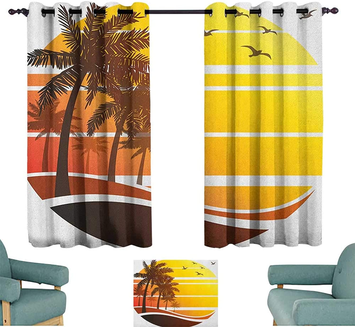 ParadiseDecor Tropical,Kids Decor Curtain Sunset at Exotic Beach with Palm Trees Birds Summer Vacation Label Style 52 x63  Nursery and Kids Bedroom Curtain