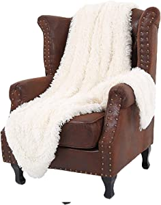 "LOCHAS Super Soft Shaggy Faux Fur Blanket, Plush Fuzzy Bed Throw Decorative Washable Cozy Sherpa Fluffy Blankets for Couch Chair Sofa (Cream White 50"" x 60"")"