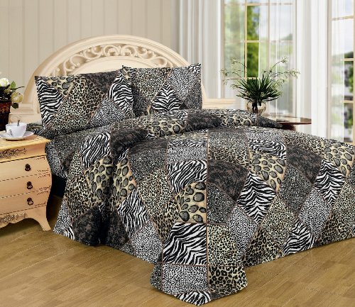 WPM WORLD PRODUCTS MART Animal Zebra Leopard Print Sheet Set: 4 Piece Black White Jungle Safari Prints Flat Fitted Bed Sheets Pillow case sham Queen Size Bedding (2123, Queen)