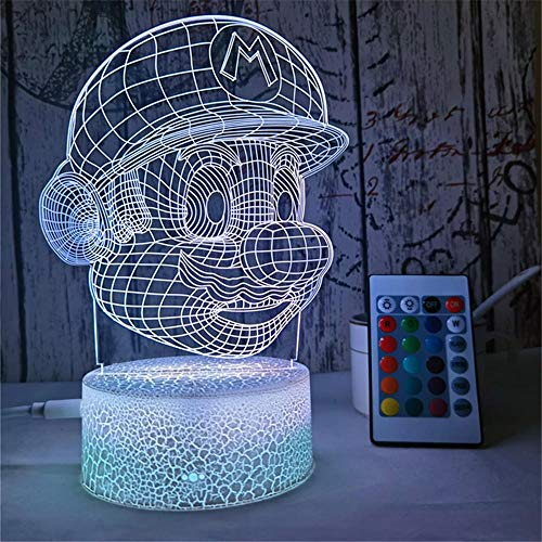 Super Mario Gifts Creativity Night Light 3D Night Light Optical Illusion LED Table Lamp Touch Button with 16 Color Changing for Christmas Birthday Gift - Remote Control