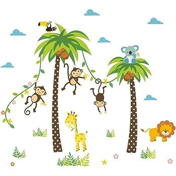Kibi Affen Gross Baum Waldtiere Tiere Wandtattoo Kinderzimmer Baum Tiere Wandsticker Wandaufkleber Wanddeko Fur Wohnzimmer Schlafzimmer Kinderzimmer Amazon De Baby