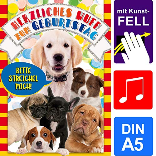 bentino Geburtstagskarte für Kinder mit Kunstfell zum STREICHELN, DIN A5 Set mit Umschlag, bei jedem Streicheln hörst Du ein Hunde-Bellen, Glückwunschkarte mit Sound, hochwertige Grußkarte