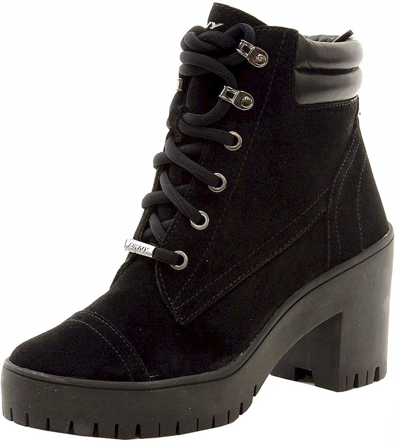 DKNY women Karan Women's Shelby Fashion Black Lace Up Boots shoes