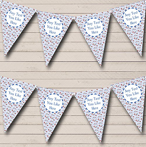 Baby Blue Teddy Bear Personalised Children's Birthday Bunting Party Banner Decoration Garland