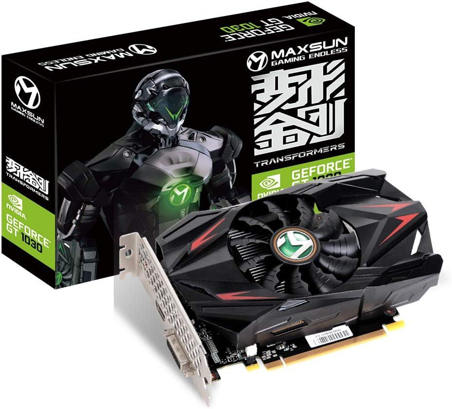 MAXSUN GEFORCE GT 1030 - Tarjeta gráfica GDDR5 (2 GB, GPU, diseño ITX, HDMI, DVI-D, sistema de refrigeración de ventilador único