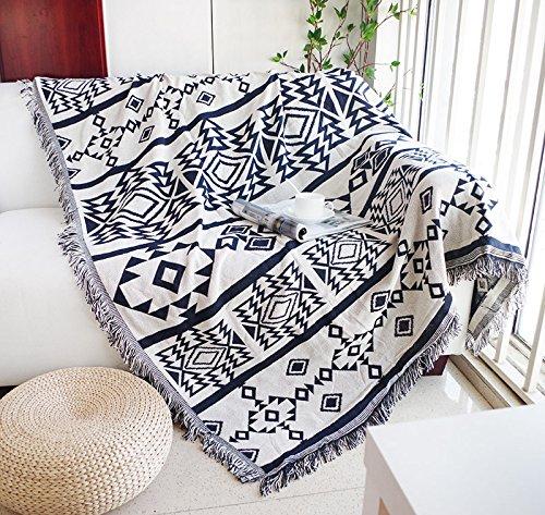 XYSFT. Cojín de colchón Minimalista, Moderno, Azul, Individual, Doble, combinación de sofá y Toalla de Tres Personas, Manta de Moda de Europa del Norte, Deep Blue Rice and White Geometry, 90 * 210cm