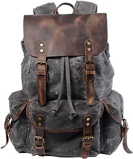 Casual Student Rucksack, Berchirly Retro Drawstring Backpack Men Oil Wax Canvas Travel Bag