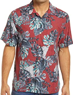 Tommy Bahama Festive Foliage Silk Blend Camp Shirt (Color: Cherry Stone, Size L)