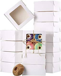 50 Pieces White Bakery Box Cupcake Boxes with Display Window and 80 m Rope, Paper Board Cardboard Gift Packaging Boxes for Pastries, Cookies, Small Cakes, Pie (6.3 x 6.3 x 3 Inch)