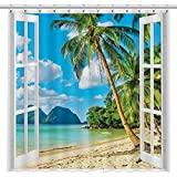 Allenjoy 72x72 inch Window Beach Shower Curtain for Bathroom Set Tropical Summer Island Ocean Scene Palm Tree Durable Fabric Decor Home Bathtub Curtains Sets with 12 Hooks