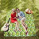 WolfWise 200 x 200cm XXL Picnic Blanket Extra Large Fleece Beach Mat with Waterproof Backing Anti Sand, Green Leaves