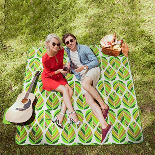WolfWise 200 x 200 cm XXL Picknickdecke, wasserdichte Campingdecke Stranddecke Outdoordecke aus Weiches Fleece Sandfrei mit Tragetasche, Grüne Blätter