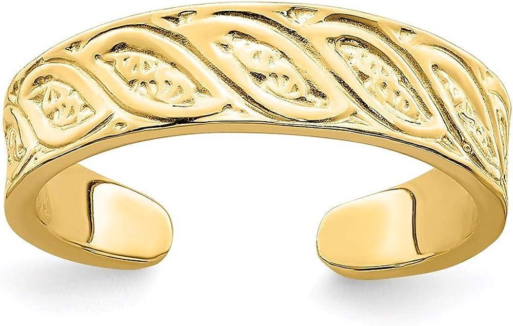 14k Yellow Gold Adjustable Leaf Design Toe Ring