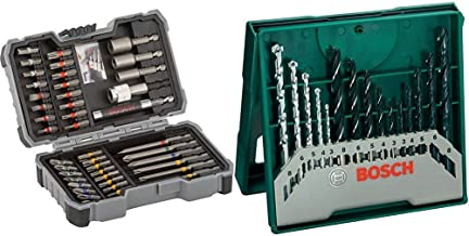Bosch 2 607 017 164 Set de 43 unidades para atornillar y llaves de vaso + Bosch Mini X-Line - Set de 15 brocas mixto: mini x-line
