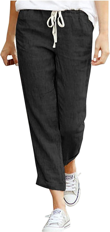 VonVonCo Casual Pants for Women Drawstring Elastic Waist Cotton Linen Nine-Quarter Pants Loose Trousers
